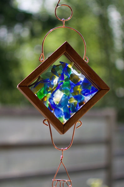 Wind Chime Stained Glass Copper Handcrafted Outdoor