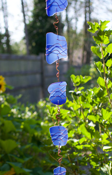 Wind Chime Extra Long Cobalt Blue Glass and Copper