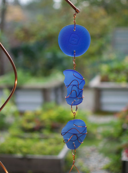 Wind Chime Freestanding Sea Glass Copper Windchimes