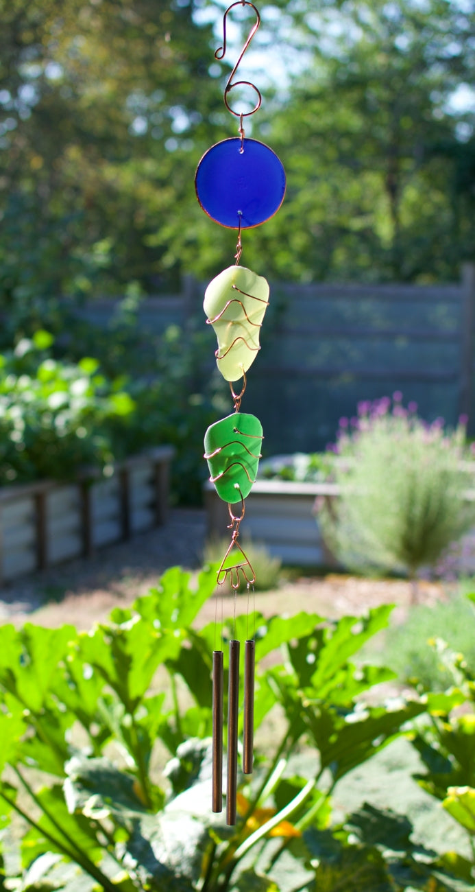 Wind Chime Sea Glass Copper Brass Outdoor Handcrafted