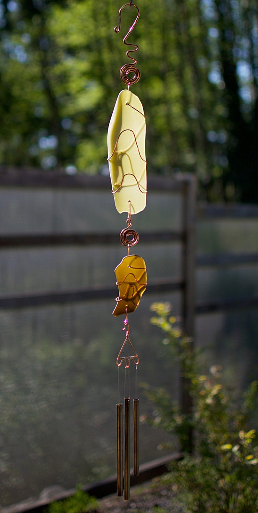 Wind Chime Glass Copper Handcrafted Outdoor Windchimes