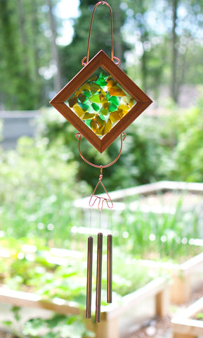 Suncatcher Wind Chime Earth Colors Glass Copper Outdoor Chimes