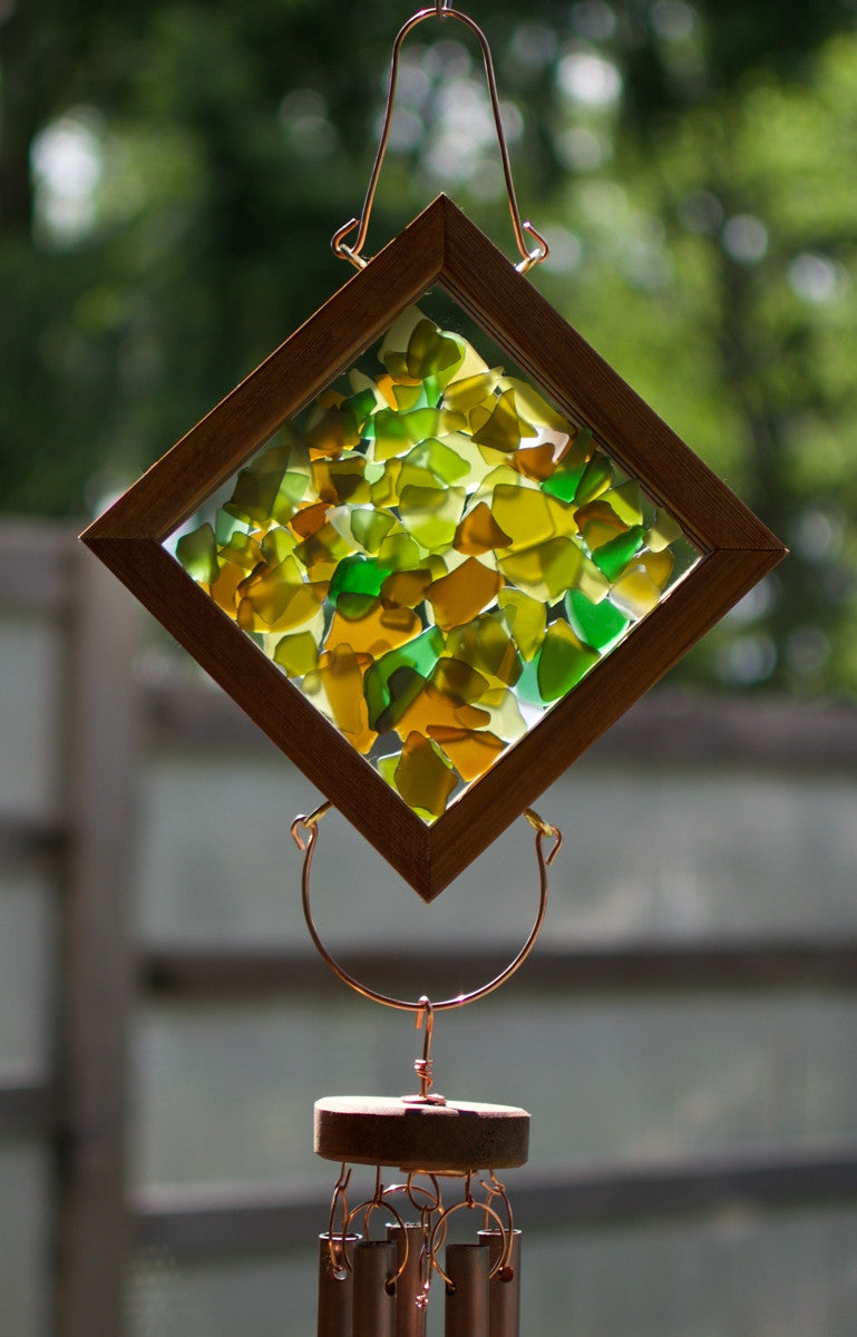 Wind Chime Earth Colour Glass Copper Large Outdoor Coast