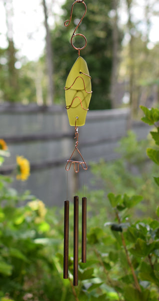 Wind Chime Sea Glass Copper Outdoor Windchimes Suncatcher