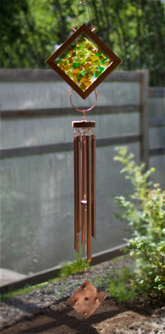 Wind Chime Earth Colour Glass Copper Large Outdoor