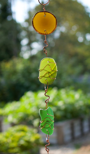 Wind Chime Beach Glass Copper Outdoor Windchimes