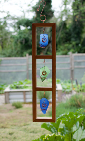 Framed Indoor or Outdoor Sea Glass Suncatcher