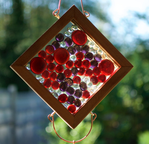 Wind Chime Red and Purple Glass and Copper Windchime - Coast Chimes - 3