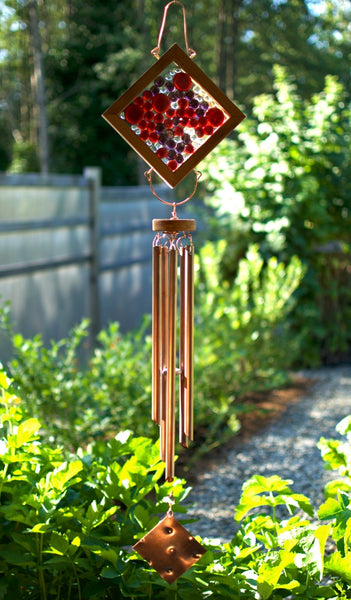 Wind Chime Red and Purple Glass and Copper Windchime - Coast Chimes - 2