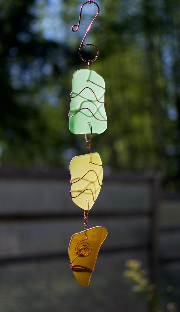 Sea Glass Sun Catcher Copper Suncatcher Handmade