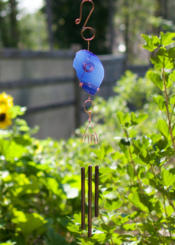 Wind Chime Cobalt Blue Glass Copper Windchimes