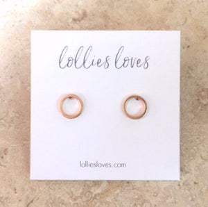 Gold Mini Circle Stud Earrings