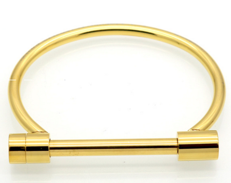 Gold Screw & Lock Bangle