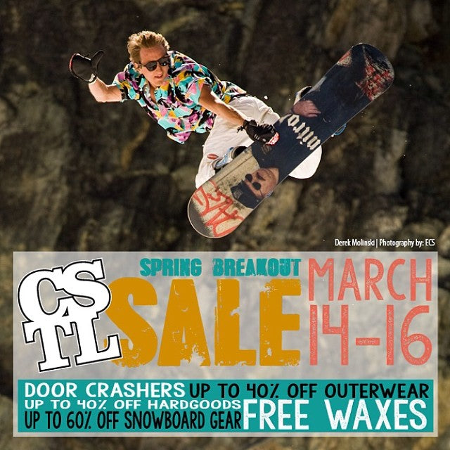 Spring Breakout Sale starts today! Sweet deals on gear and boards and some awesome door crashers. On until Sunday!
