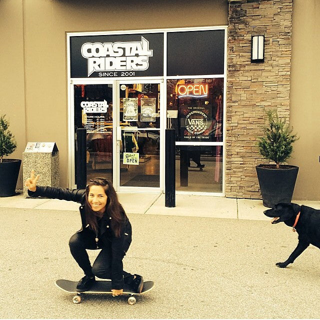 #PartyPelosi aka @leannepelosi just bought a fresh cruiser. Watch out tofino skatepark. #skateboard #leannepelosi #keitadog