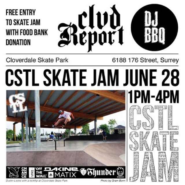 Extra, Extra! #CoastalRiders to host #CLVDReport #SKATEJAM. June 28th from 1-4pm. Vans DJ Age spinning records. Free BBQ. Prizes from @vanscanada @miamihighco @chanceskateboards @dakineskate @matixclothing @thundertrucks @spitfirewheels.