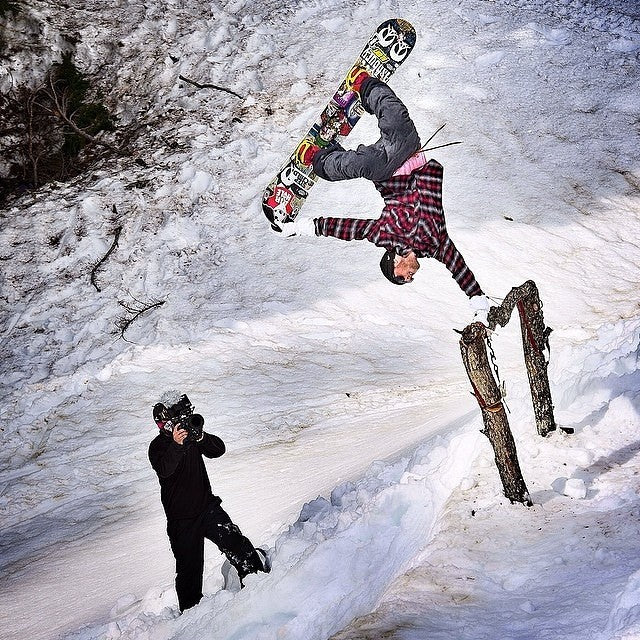 #regram from @snowboardermag. @thelsho aka Logan Short aka #thechamp getting upside down on a hitching post in the whistler backcountry somewheres. #springboarding. Snow is still out there if your willing to look for it. Photo by @oligagnonphoto
