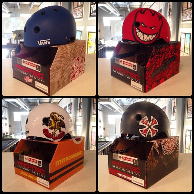 tons of new @protec helmets in shop. keep that head safe with these sick collabs. @spitfirewheels @vans @independenttrucks @steviecab #protectionforprogression