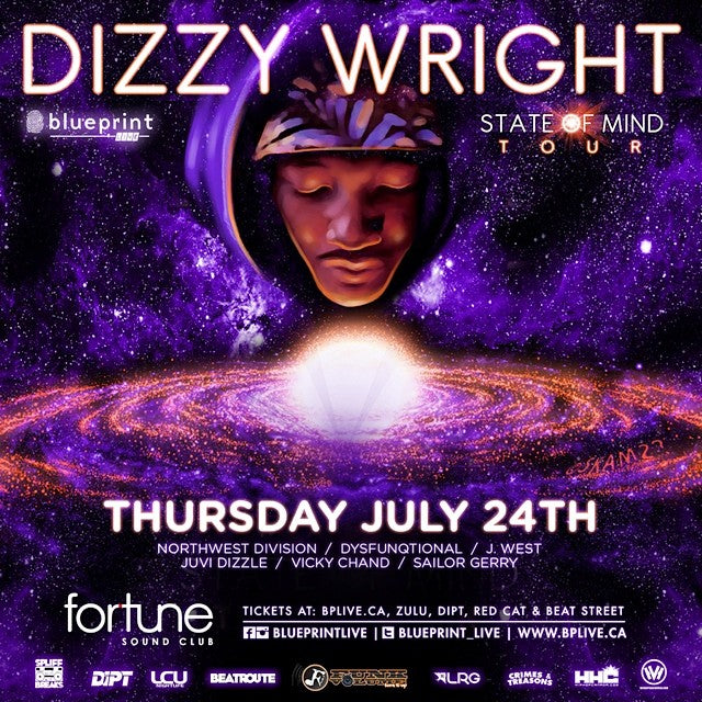 Get your tickets for #DizzyWright tonight at @fortunesound. It's the #stateofmind tour. @blueprintlive #blueprintlive