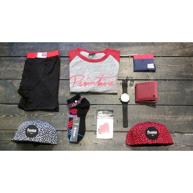 new gear for you and your dad. @primitiveapparel tees and hats @nixon_now watch @mypakage underwear @herschelsupply wallets @stancesocks and a @nickydiamonds air freshner #wellpacked