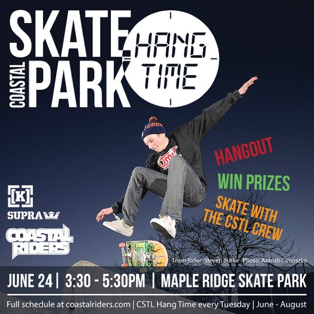 Coastal is at Maple Ridge Skate Park tomorrow for #cstlhangtime! Come on down - hangout, meet the crew, skate, and take home some prizes! #hangtime #skatelife Team Rider: @yzeebs Photo: @antoshcimoszko