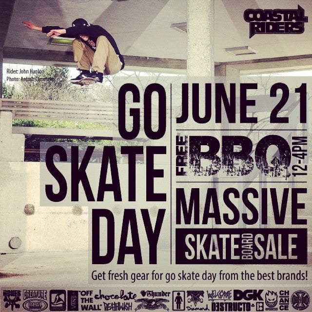 @johnhanlon604 busting out some air in preparation for only the best day of the year. #goskateday BBQ from 12-4 and sale from 10-6 at Coastal on June 21st, write it on your hand. #skatelife #firstdayofsummer