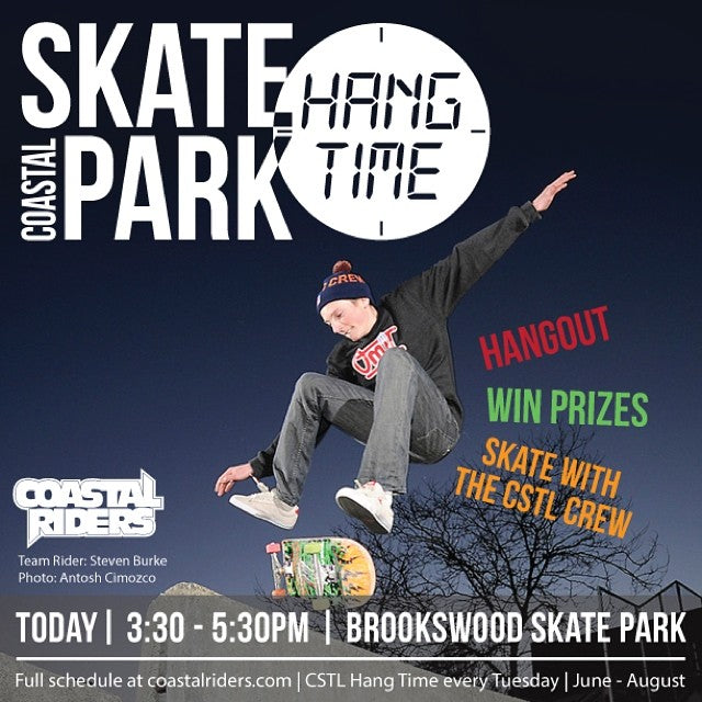 The #CoastalCrew will be at #Brookswood skatepark this afternoon from 3:30-5:30. You'll want to be there too, come hangout, win some prizes & skate! #cstlhangtime