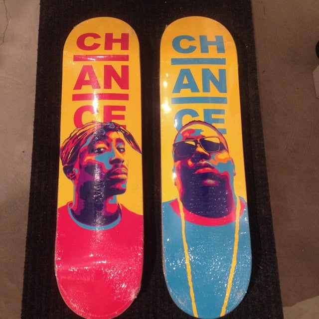 @chanceskateboards biggie smalls and tupac decks new in shop. cop em before they're gone! #fresh #eastcoast #westcoast #notorious #2pac