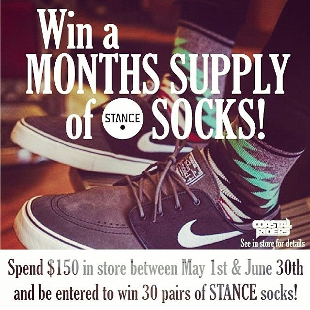 Time is running out for you to win a months supply of @stancesocks. Every time you spend $150 in store you are entered to win 30 pairs of #StanceSocks. Contest ends June 30th. Get to #CoastalRiders today.