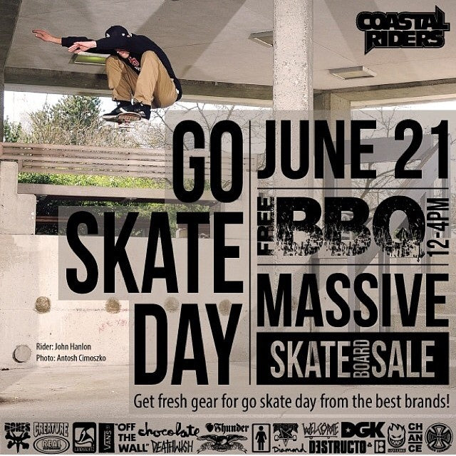 don't forget about our #goskateday BBQ tomorrow! free food and drink from 12-4. plus tons of deals on skate gear. grab a fresh set up before you head downtown! #skateeverything
