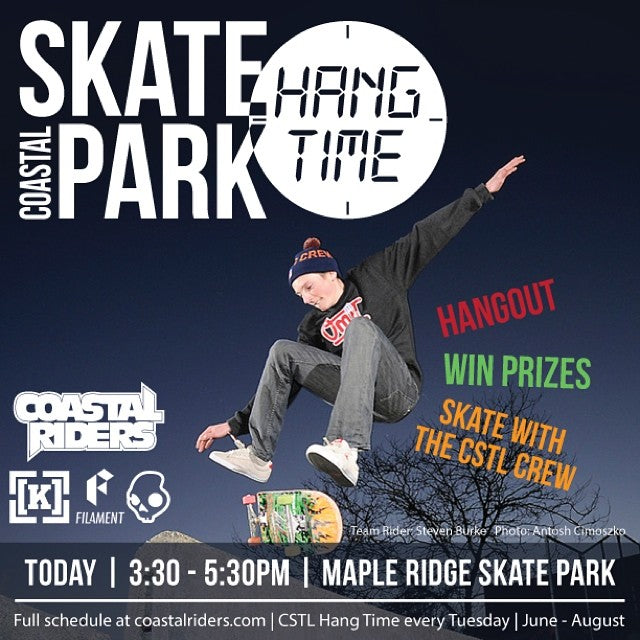 #cstlhangtime this afternoon! Tom Haney Park - #mapleridge. Come by, win some prizes & skate with the #cstlcrew! @filament_brand @skullcandy @kr3wdenim & @coastalriders garb will be given away!