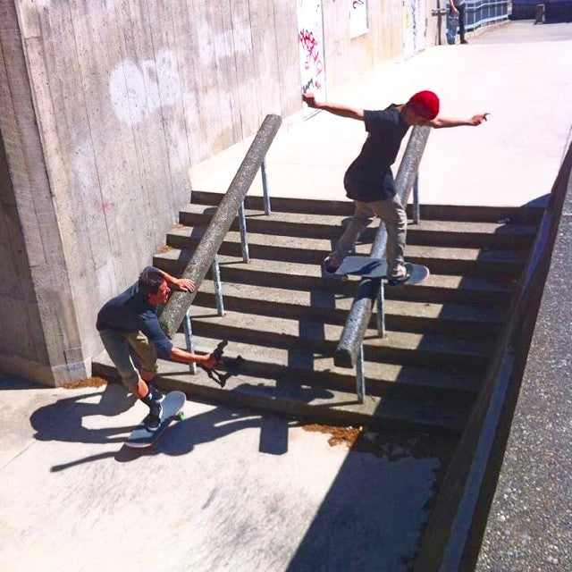Coastal team rider @ryansiemens getting busy with @davidstevens filming for @stillrollin2. #garfieldhigh #jimmihendrix #seattle #skateboarding #coastalriders #cstl photo shot by: @zazula91.