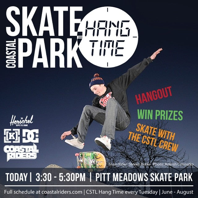 Come one, come all, the CSTL crew will be at Pitt Meadows skate park this afternoon - muster up some Canadian courage, brave this heat and come join us for #cstlhangtime! Prizes to go around from @dcshoes @herschelsupply @coastalriders and @kr3wdenim