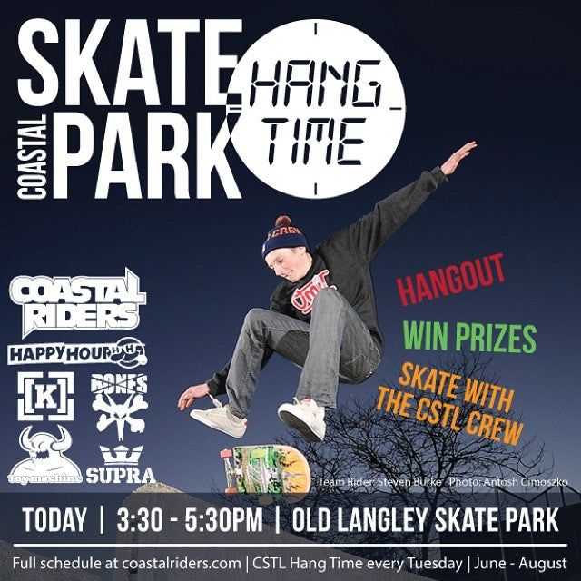 Pick up your board and get out to Old Langley Skatepark for #cstlhangtime this afternoon! Join the crew and grab some prizes from @happyhourshades @supraskateboarding @toymachine @boneswheels @kr3wdenim & @coastalriders! #skatelife #hangtime