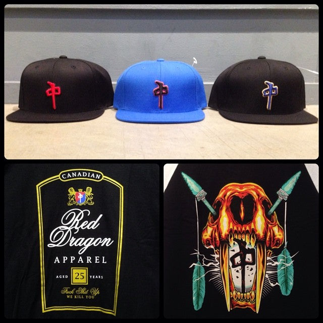 @thereddragons hats, tees, raglans, and hoodies restock. #canadianclub whiskey bite.