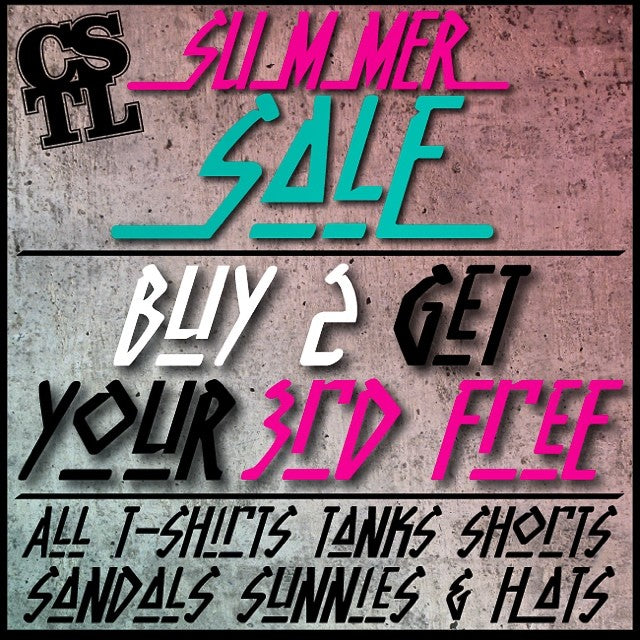 We are having a #SummerSale! Right now buy any two T-shirts, Tank Tops, Shorts, Sandals, Sunglasses & Hats and get your 3rd least expensive item free. On now for a limited time. #skate #snow #streetwear #summer