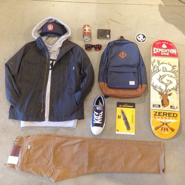 get decked out! @vans jacket @obeyclothing hoodie and hat @matixclothing miner pant @happyhourshades @herschelsupply pack @volcom wallet @converse_cons shoes @leathermansport knife and @expeditionone deck #wellpacked