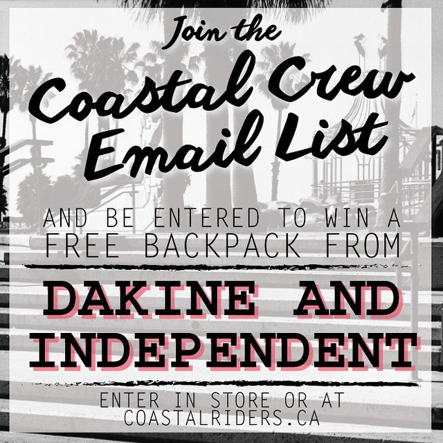 Is as easy as 1,2,3. You could score a free colab bag from @dakineskate and @independenttrucks! Just join the Coastal Crew Email List and BAM, you're instantly entered to win.