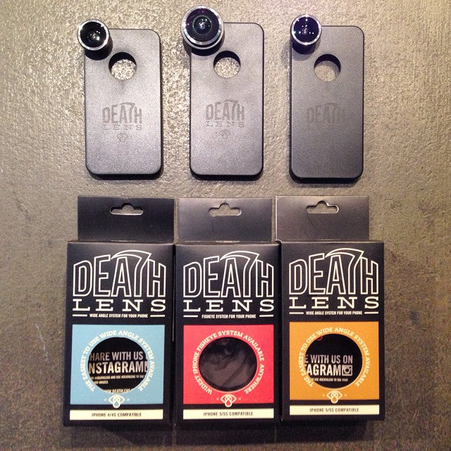 @deathlens new in shop today. turns your iPhone into a wide angle or fish eye lens. for iPhone 4 & 5. perfect for any filming. comes with a case and a carry bag for the lens. $44.99 for fisheye $29.99 for wide angle. #deathlens