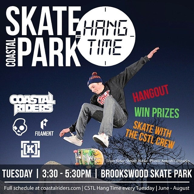 Free up your afternoon and get out to #cstlhangtime at 3:30 today at #Brookswood #skatepark! Prizes from @skullcandy @filament_brand @kr3wdenim and @coastalriders