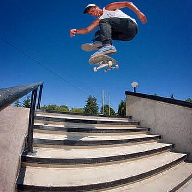#regram from photographer @bradmilburn. @brendannielsen15 mid #hardflip catch at the Cloverdale park. #clvdreport