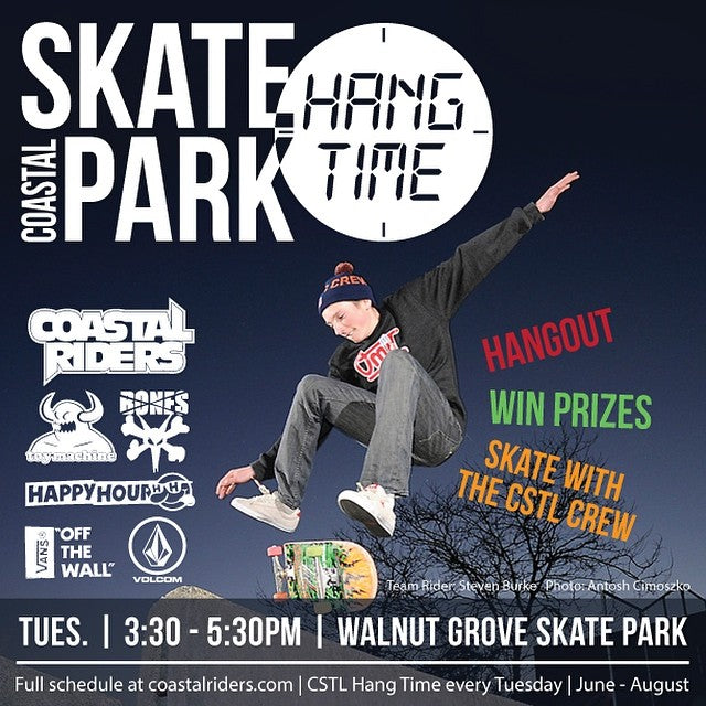 Today's #cstlhangtime is ON! The park dried, the prizes are ready, the water is on ice. Come skate and chill with the Coastal Crew at #WalnutGrove skatepark today from 3:30 - 5:30. #rp #wg