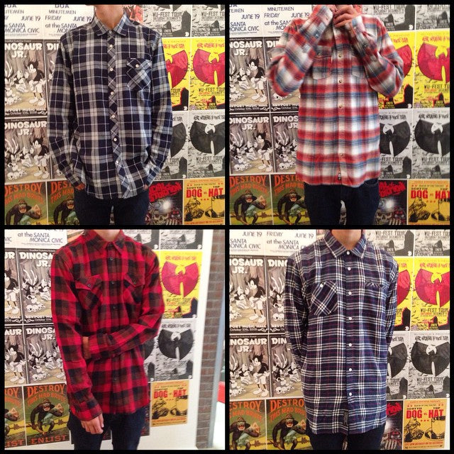 get your flannels ready for fall. we have tons in stock from different brands. @volcom @ripcurl_canada @rvcaskate and @elementbrand featured here. #getemwhiletheyrehot #flannels #fall #skate #supportlocal