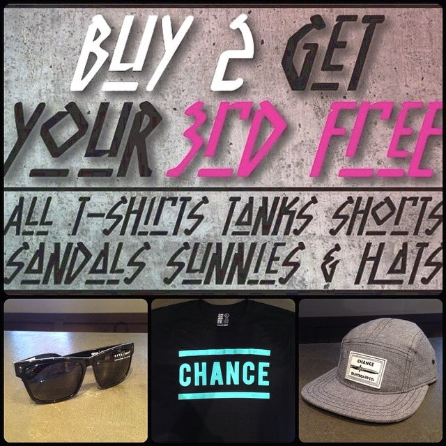 SUMMER SALE! come grab 2 items and get your third for FREE!! that means grab these @spyoptic #haight shades, this @chanceskateboards tee and get the 5 panel for free. #free #skateeverything #summersale #cstl