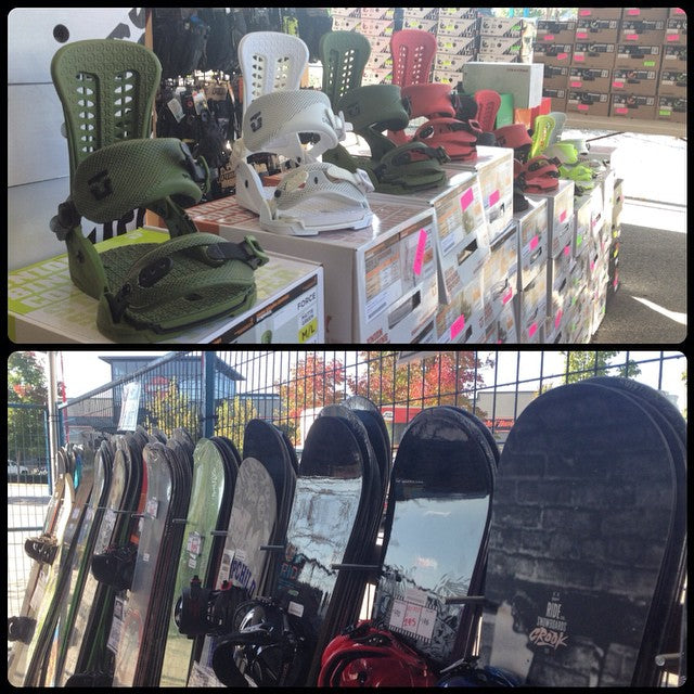 we still have tons of sale product in the yard! last day to grab a set of @unionbindingco and a fresh deck for the season. all gear is 40-50% off. it may be sunny but #winteriscoming #supportlocal