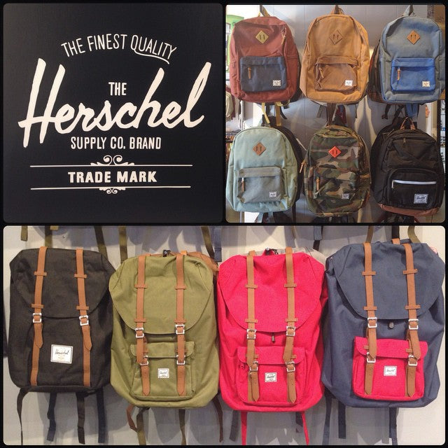 loads of new @herschelsupply packs in shop. get a fresh bag for back to school. to many colors and designs to count. #herschelsupply #welltraveled