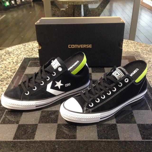 new @converse_cons shoes in shop. classic style made skateable with new age tech. features @nikesb #lunarlon insoles to prevent heel bruises and ensure comfort #converse