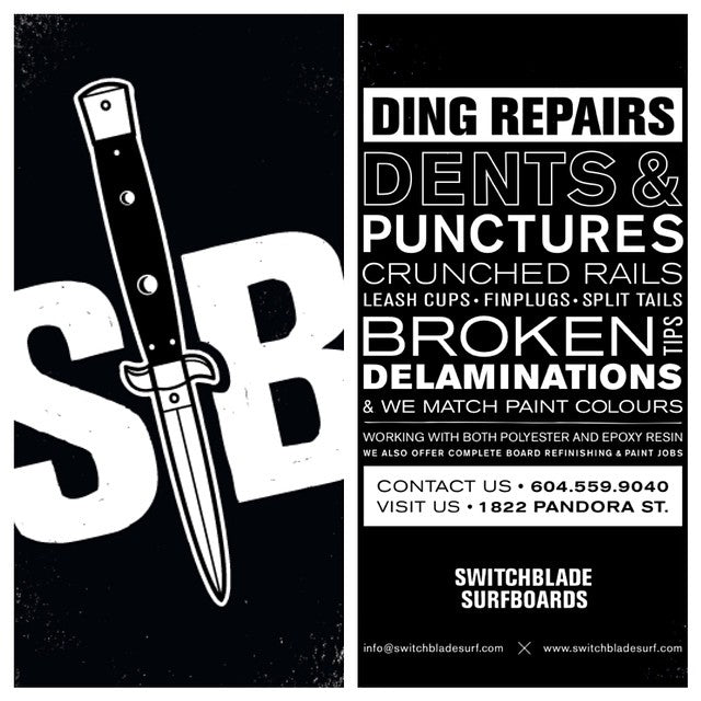 For those of you who surf and need #ding repairs, or are interested in a custom made #surfboard right here in #Vancouver, check out @switchblade_surfboards. #HandMadeByHand #SwitchSladeSurfboards. Check www.switchbladesurf.com for more info.