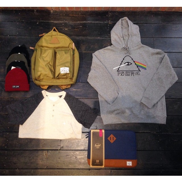 rains coming! that means so is school. time to think about fall. get geared up with toques from @kr3wdenim, shirts from @lrgclothing, a hoody and bag from @polerstuff and a sly laptop sleeve from @herschelsupply. #wellpacked #winteriscoming #raincity