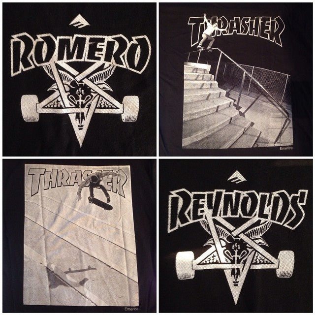 @emerica X @thrashermag collab tees new in shop. @andrewreynolds and #romero pro models available.